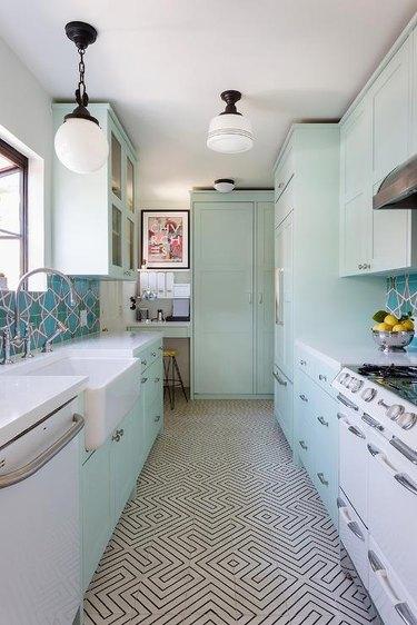 mint green and aqua kitchen