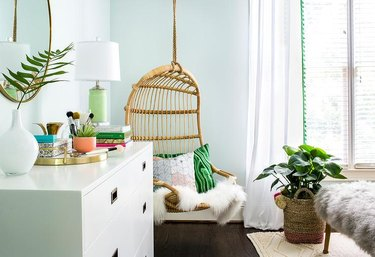boho mint green room with jade green accents