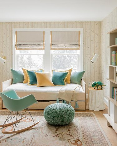 mint green, yellow and beige kids room