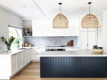minimalist scandinavian kitchen with woven pendants