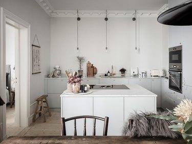 white, minimalist scandinavian kitchen