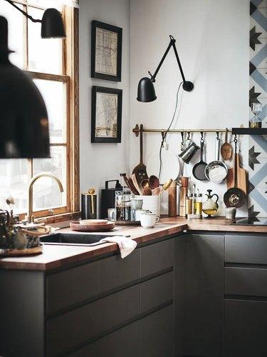 minimalist scandinavian kitchen with gray cabinets