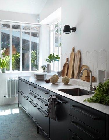 scandinavian kitchen with dark black cabinets