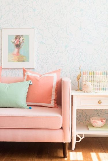 mint green and peach kids room