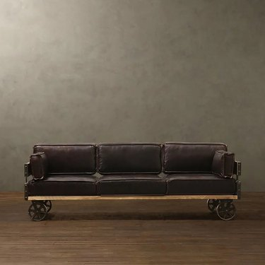 Leather couch with wheels