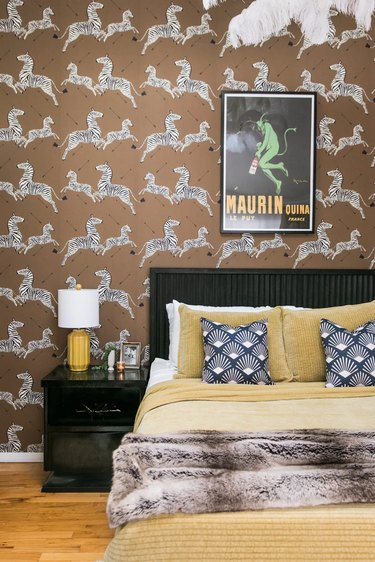 glamorous bedroom with brown zebra wallpaper