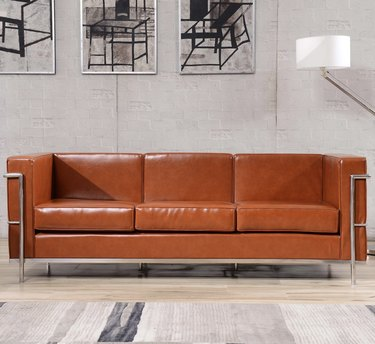 Leather and metal couch