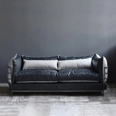 Industrial sofa with pillows