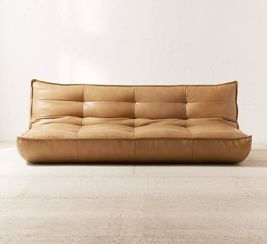 Tufted leather couch without legs