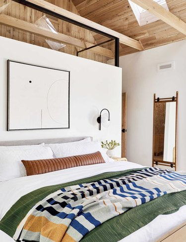 Scandinavian bedroom with modern artwork and sconce