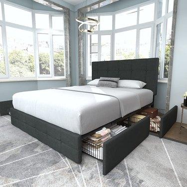 Allewie Platform Bed Frame with Storage Drawers