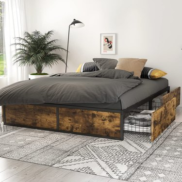 Sha Cerlin Industrial Metal Bed Frame with Storage Drawers