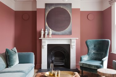 toasted mauve living room with mint green furniture