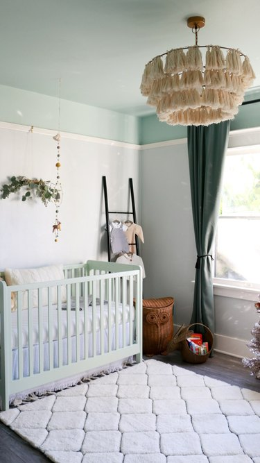 mint green nursery with forest green accents