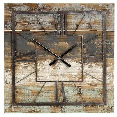 Square Vintage Industrial Clock