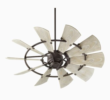 White and Oiled Bronze Windmill Ceiling Fan