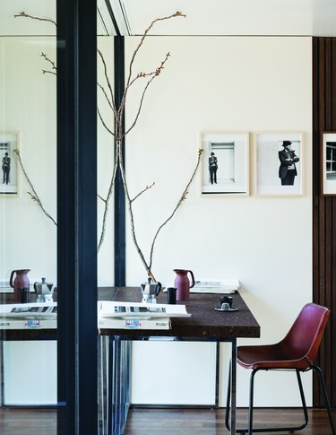 office with white wall and wood desk