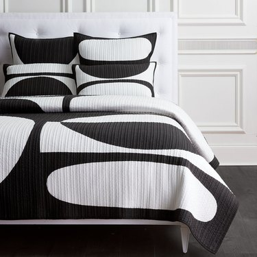 black-and-white geometric quilt