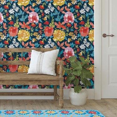 colorful floral print wallpaper