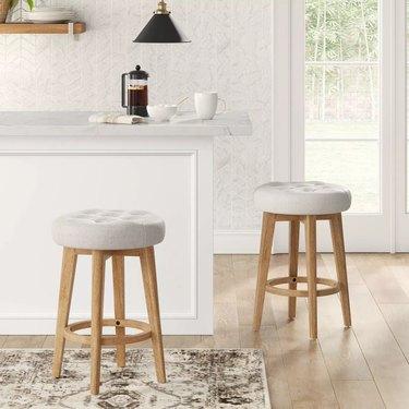 Linen counter stool