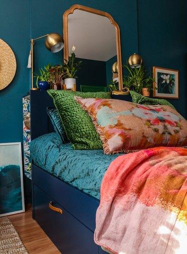 dark bedroom idea with jewel tones