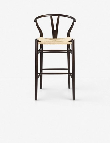 Cylia bar stool with wood and wicker