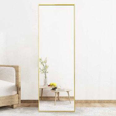 Beauty4U Gold Aluminum Alloy Frame Floor Mirror