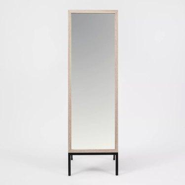 Project 62 Oak and Metal Modern Floor Mirror