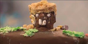 screenshot of video showing a groundhog-inspired cake