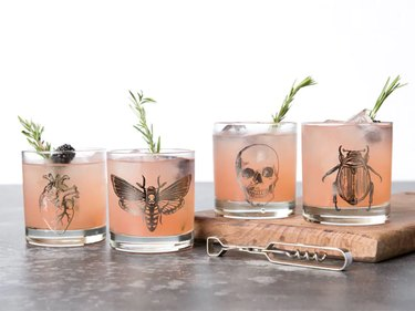 set of four glasses with heart, moth, skull, and beetle designs