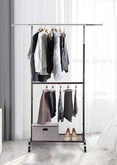 Rolling Clothes Organizer with Wheels and Bottom Shelves, $39.97