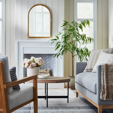 Rattan arched mirror in living room