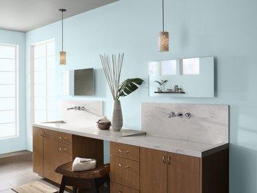 bathroom with light blue walls