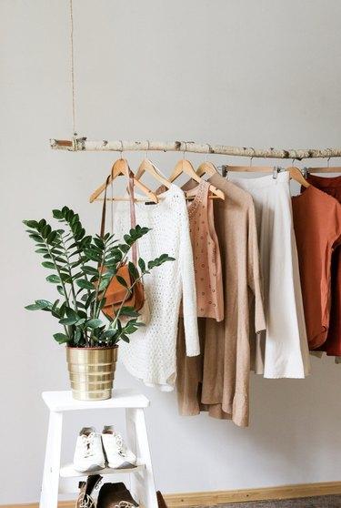 Hanging Birch Branch Clothing Rack, $142.45