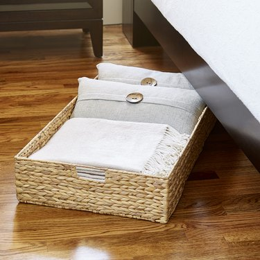 under bed storage ideas woven bin with handles