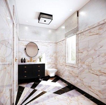 Marble tiled bathroom