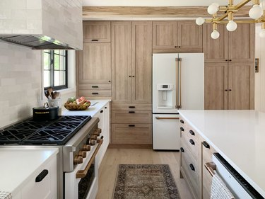 kitchen with light oak cabinets