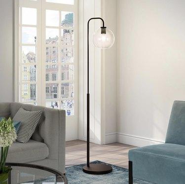 Harrison Arc Blackened Bronze Floor Lamp, $83.49