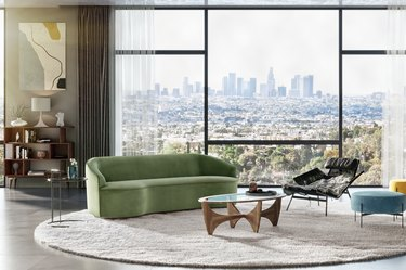 "Yasmin 84"" Fabric Sofa, Grass Velvet, $1,997.00"