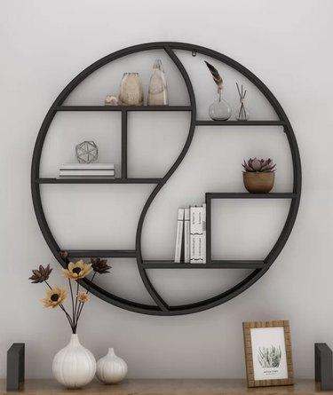 Aitkin Industrial Hanging Circular Wall Bookshelf, $179.99