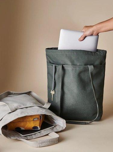 Drömsäck Tote Bag in beige and olive