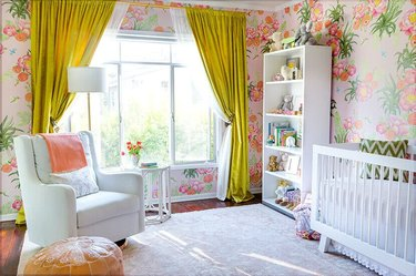 nursery with chartreuse drapery panels