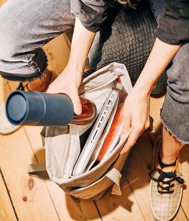 ikea dromsack tote bag being packed