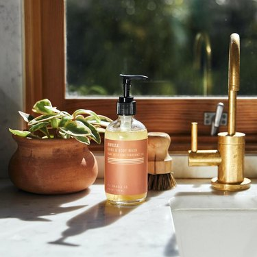 kitchen sink with hand soap bottle