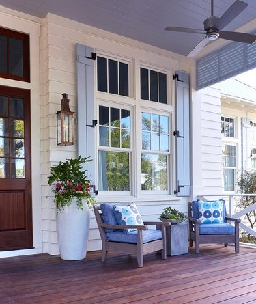 porch with purple shutters