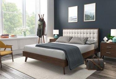 overstock midcentury modern bedroom DG Casa Hughes Midcentury Solid Wood Low Profile Platform Bed with Tufted Headboard