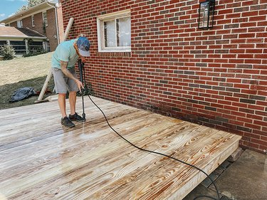 Pressure wash the finished deck.