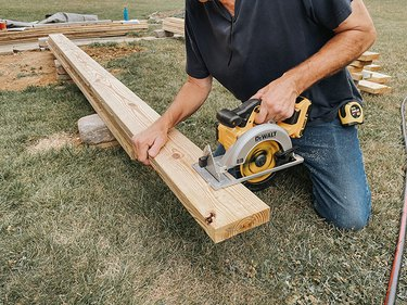 Cut the rim joists and beams to size.