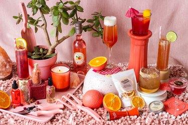 Pink cocktail display