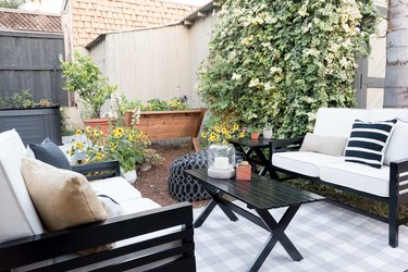 outdoor patio in garden with upholstered seating